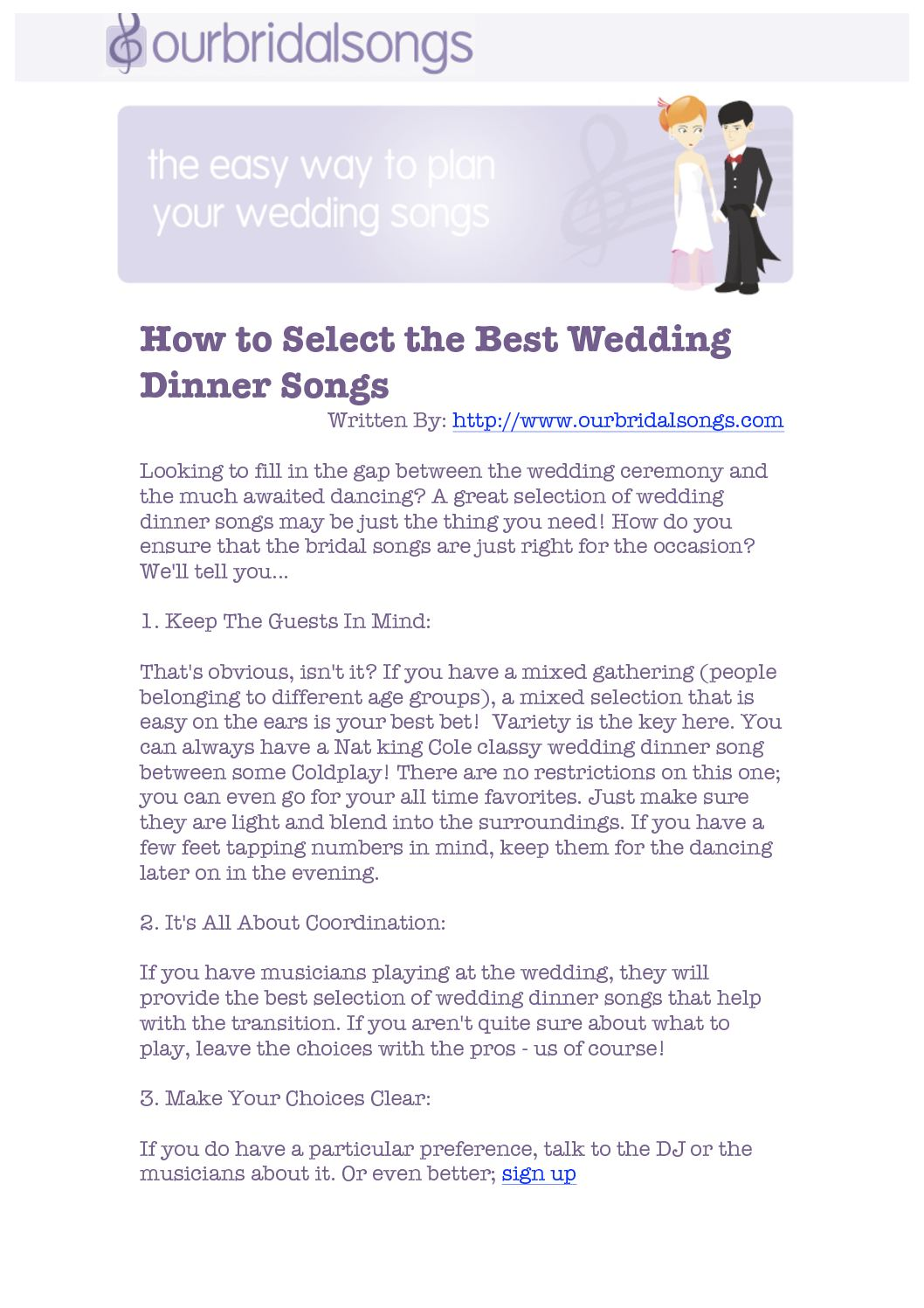Calameo How To Select The Best Wedding Dinner Songs