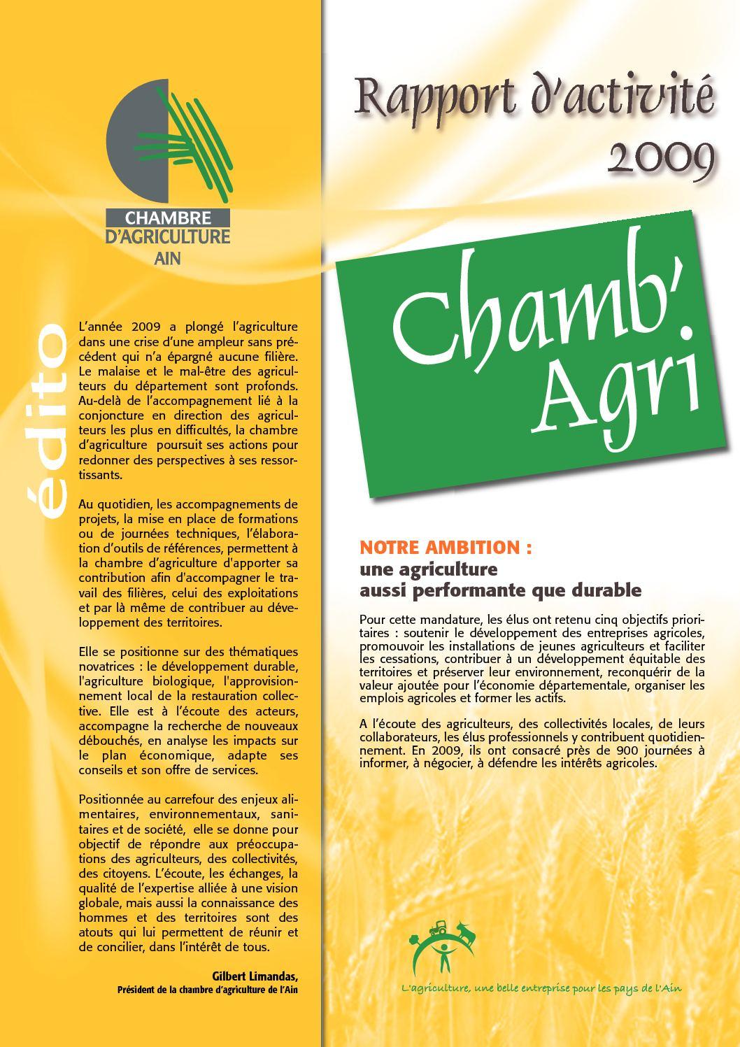 Calam o rapport d 39 activit s 2009 chambre d 39 agriculture de l 39 ain - Chambre agriculture de l ain ...
