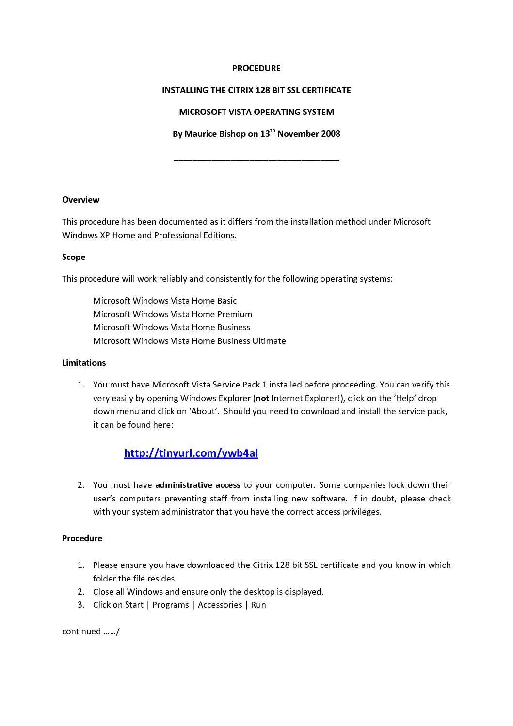 Calamo Installing Citrix 128 Bit Ssl Certificate Under Vista