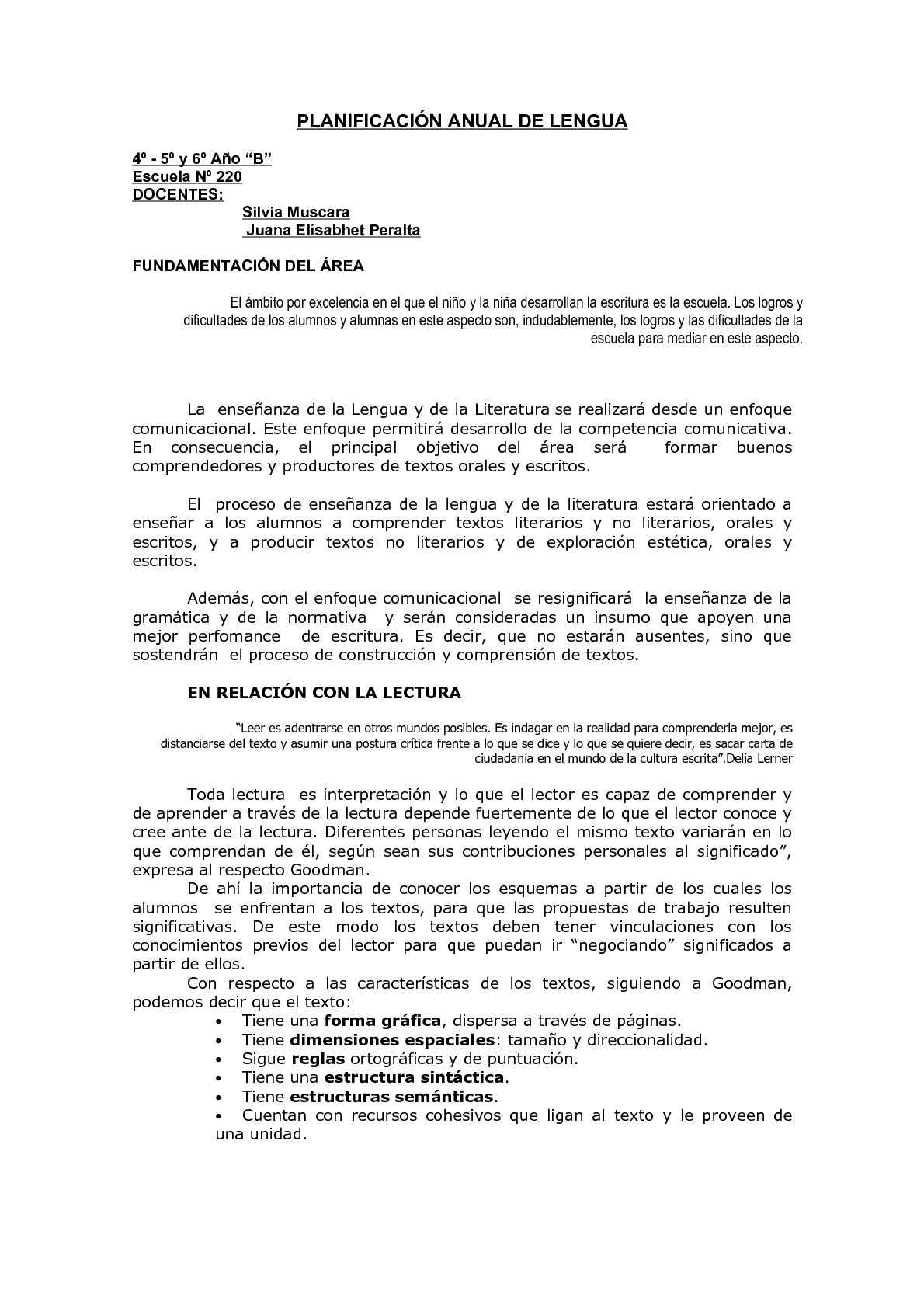 Calaméo - Planificación Anual Lengua 2º Ciclo Escuela Primaria
