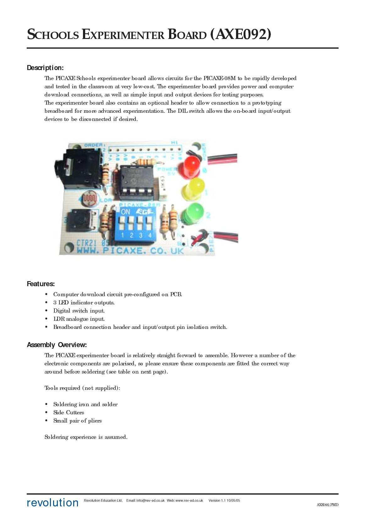 Calamo Axe092 Datasheet Picaxe Programming Circuit