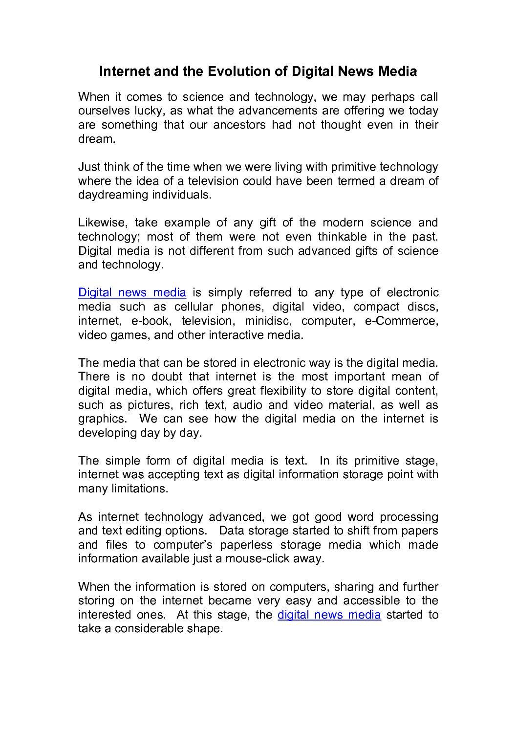 Calamo Seek4media On Internet And The Evolution Of Digital News Media