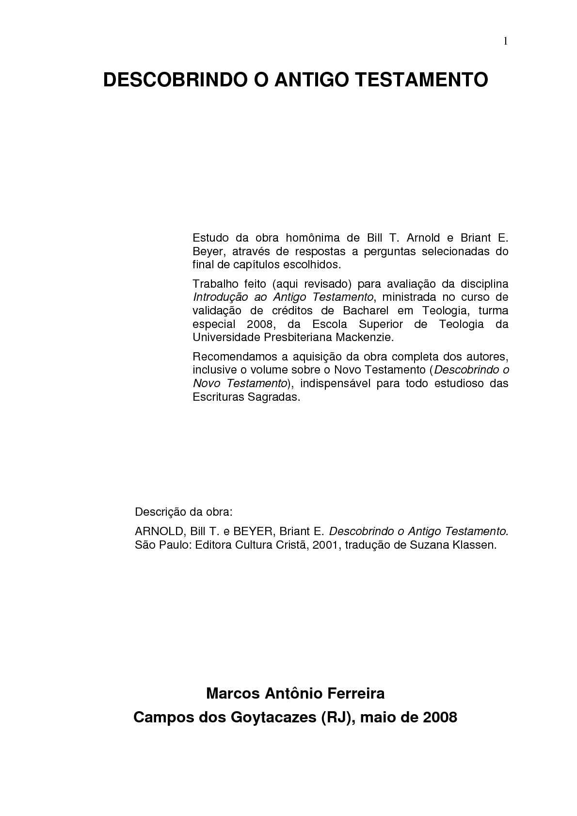 DESCOBRINDO O ANTIGO TESTAMENTO (estudo na obra)