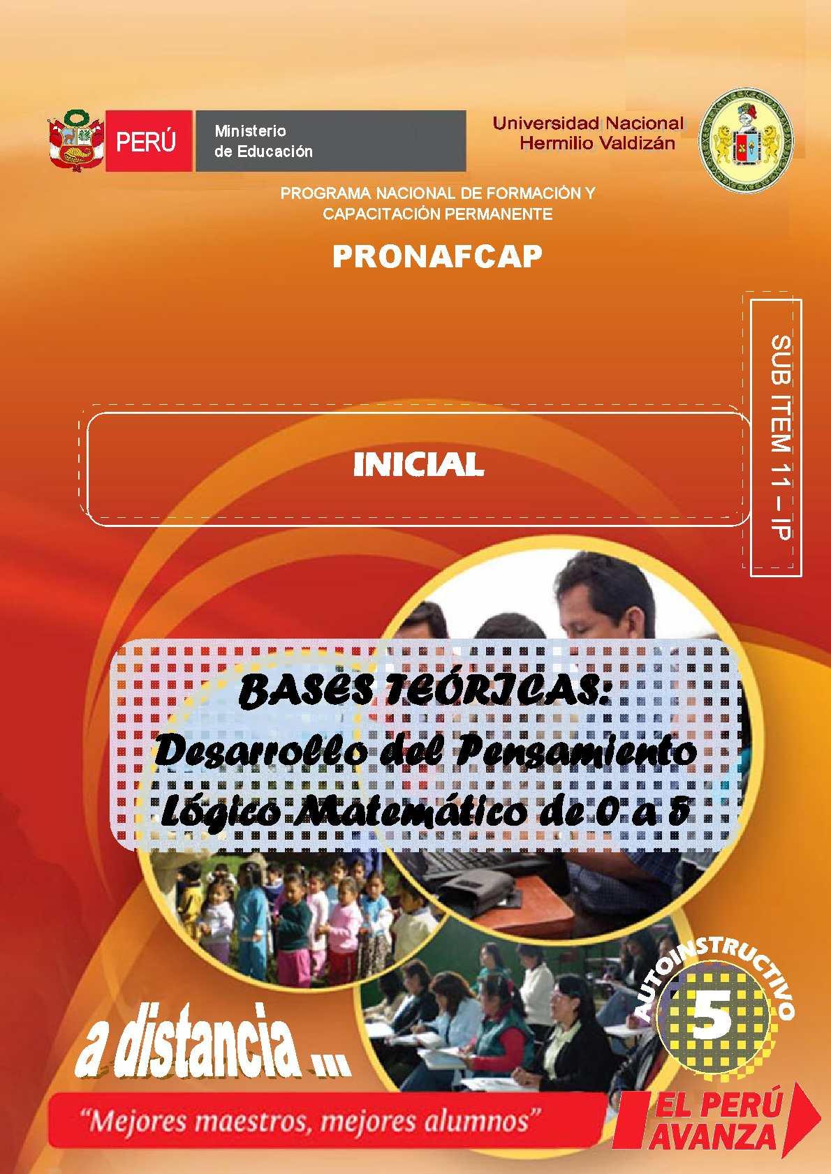 PRONAFCAP 2009-BASES TEÓRICAS. Desarrollo del Pensamiento Lógico Matemático de 0 a 5 años