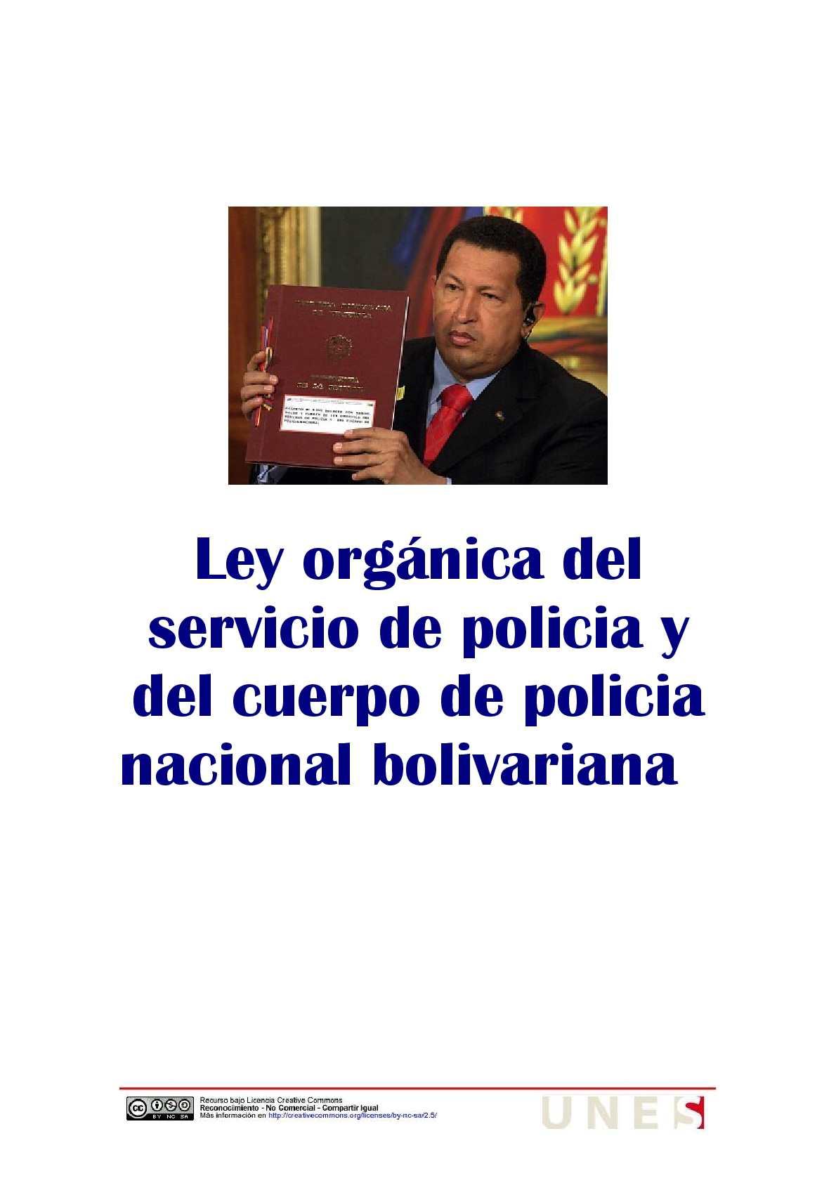 Calam O Ley Org Nica Del Servicio De Policia Y Del