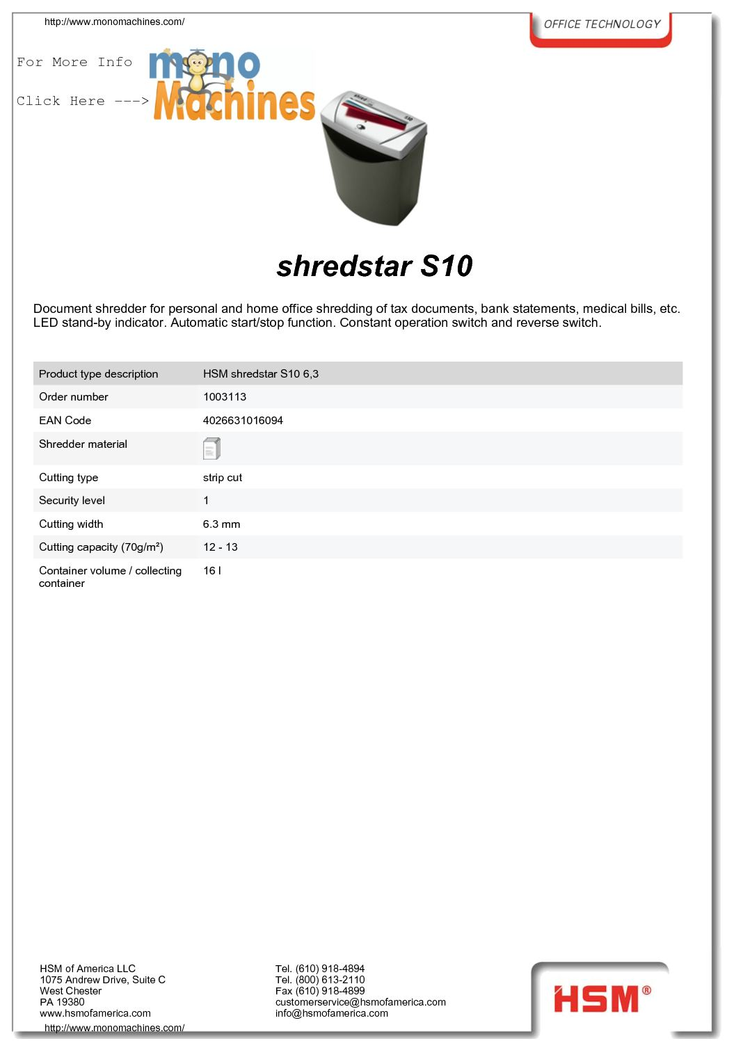 Calameo hsm shredstar s10 strip cut paper shredder specs for Bank of america document shredding