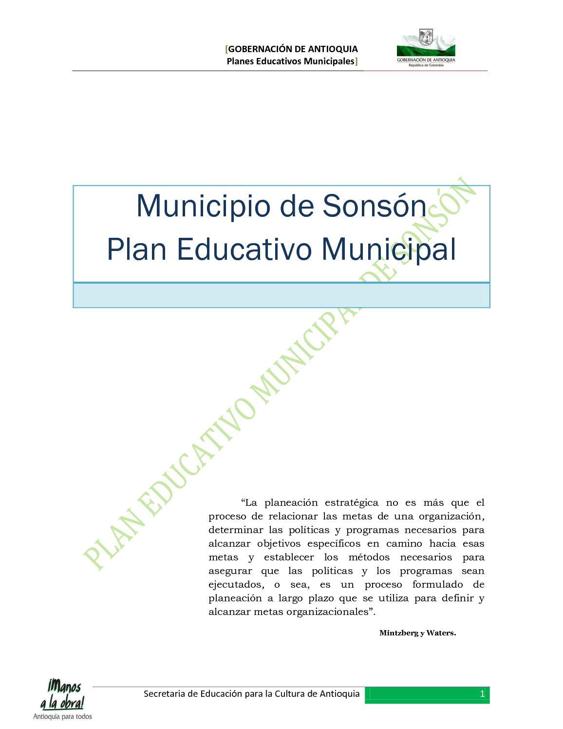 Calaméo - Plan Educativo Municipal - Sonsón - Antioquia