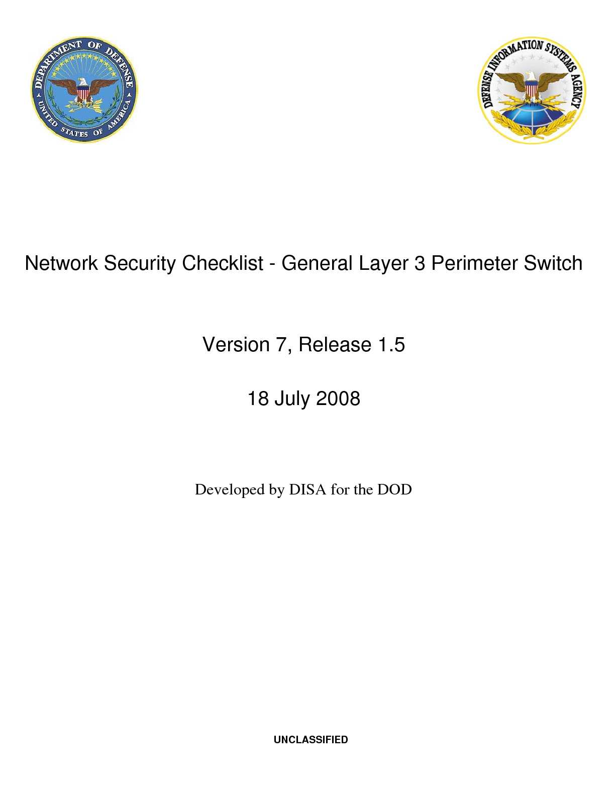Network Security Checklist - General Layer 3 Perimeter Switch - 18 July 2008