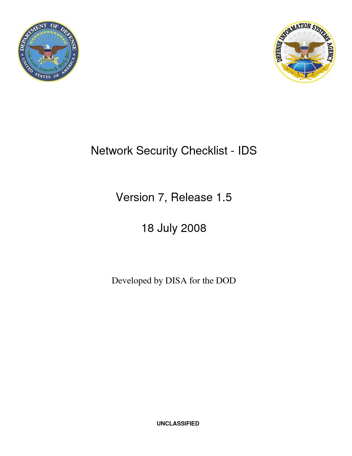 Network Security Checklist - IDS - 18 July 2008