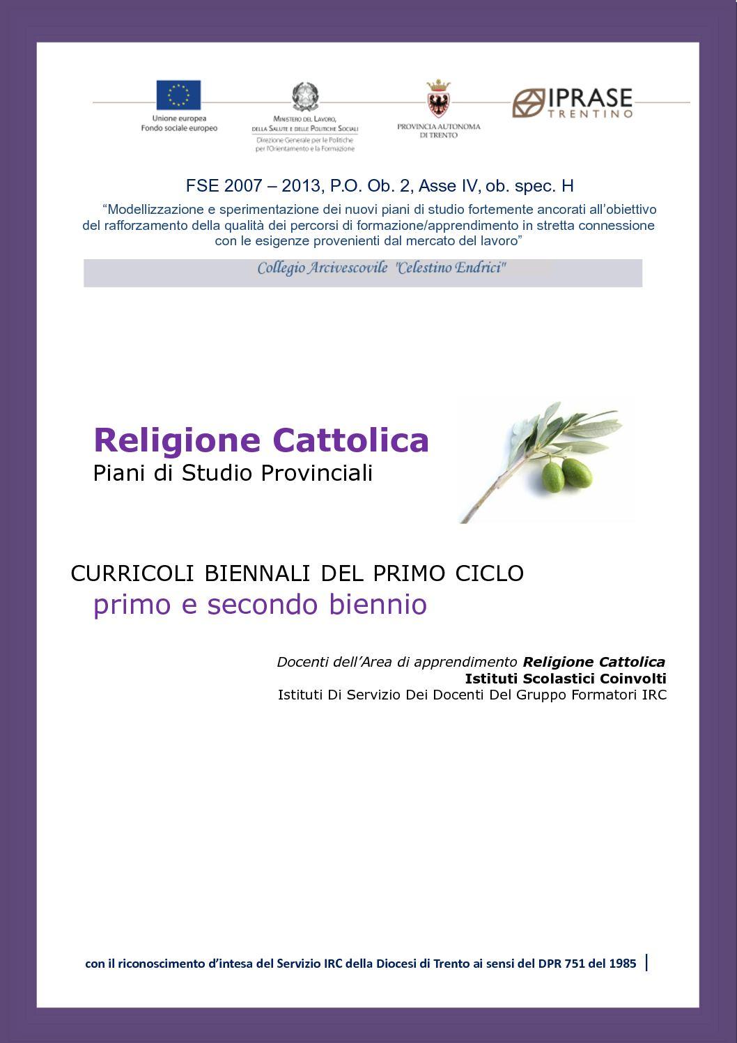 Calameo Religione Cattolica 1 Piani Di Studio 1 E 2 Biennio