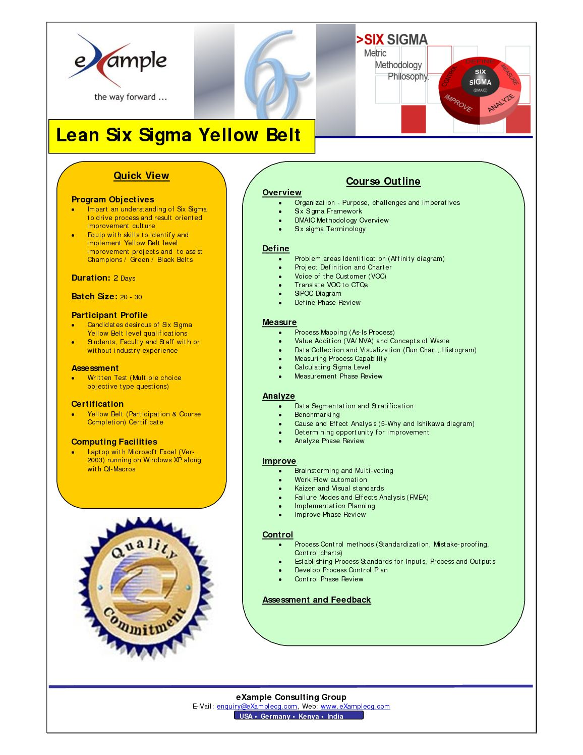 Calamo Examplecg Lean Six Sigma Yellow Belt Certification