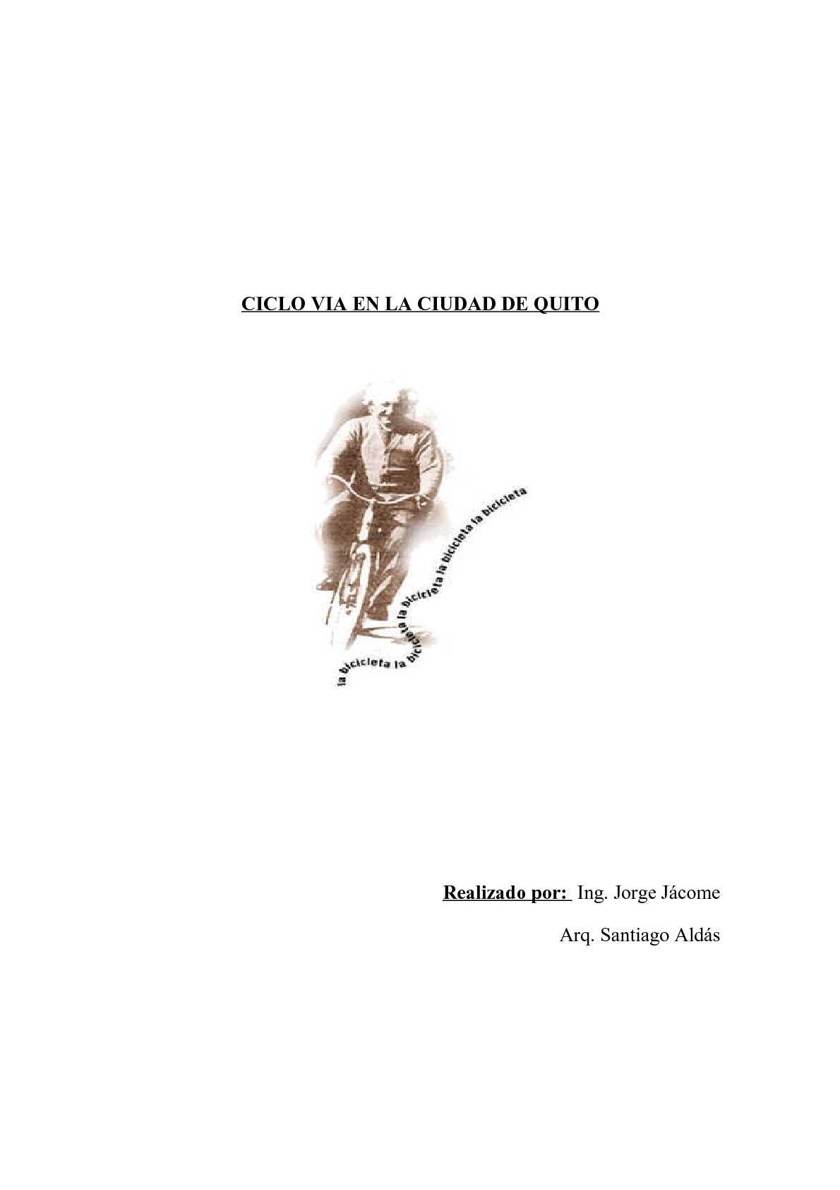 Análisis y requerimientos para ciclovia en ciudad (uio-ec) '03