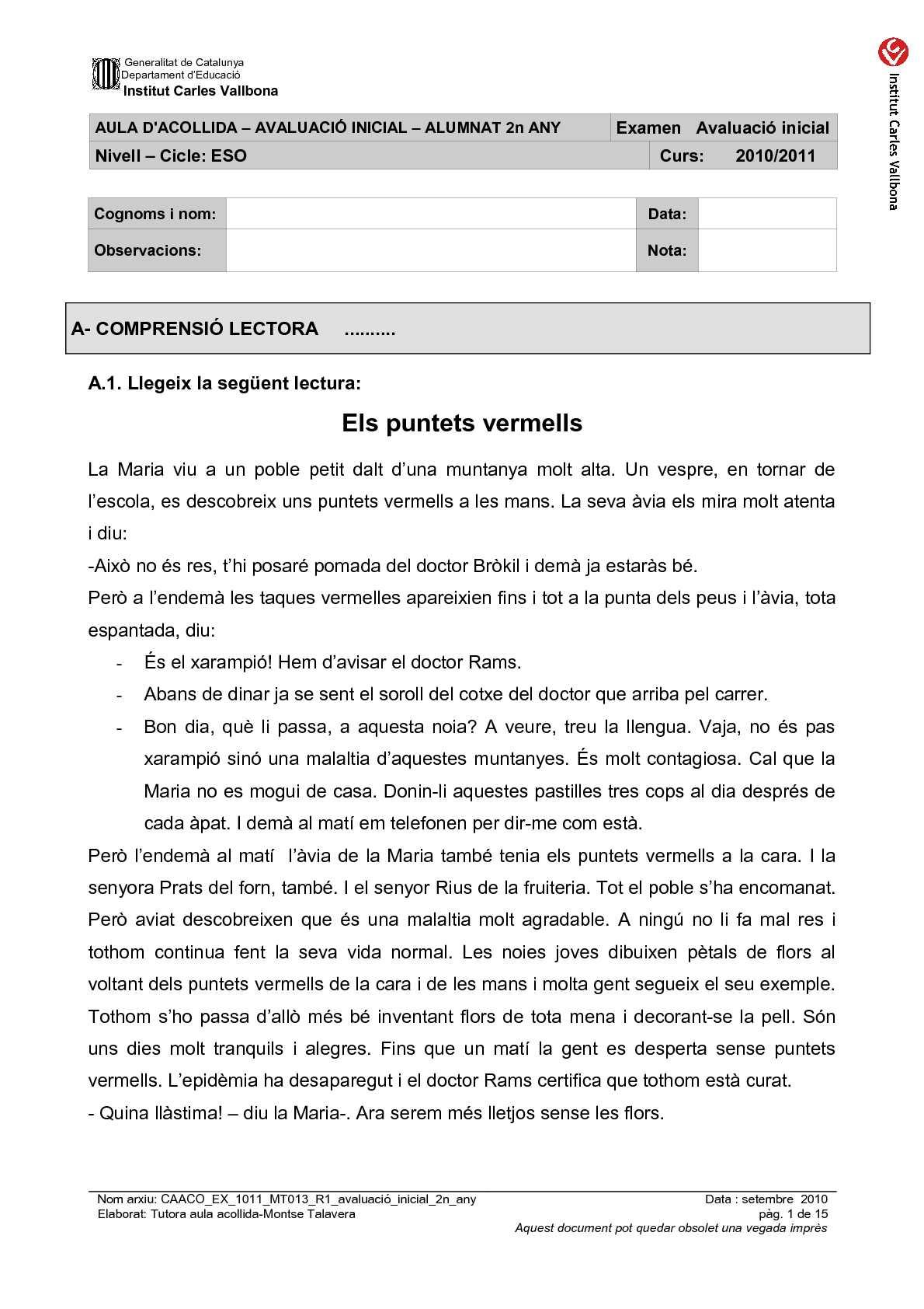 AVALUACIÓ INICIAL AULA ACOLLIDA - 2n ANY