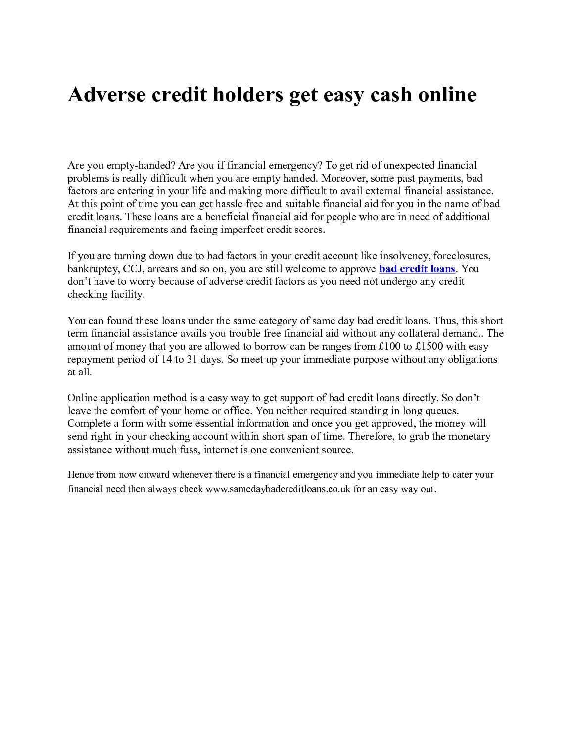 calaméo - adverse credit holders get easy cash online
