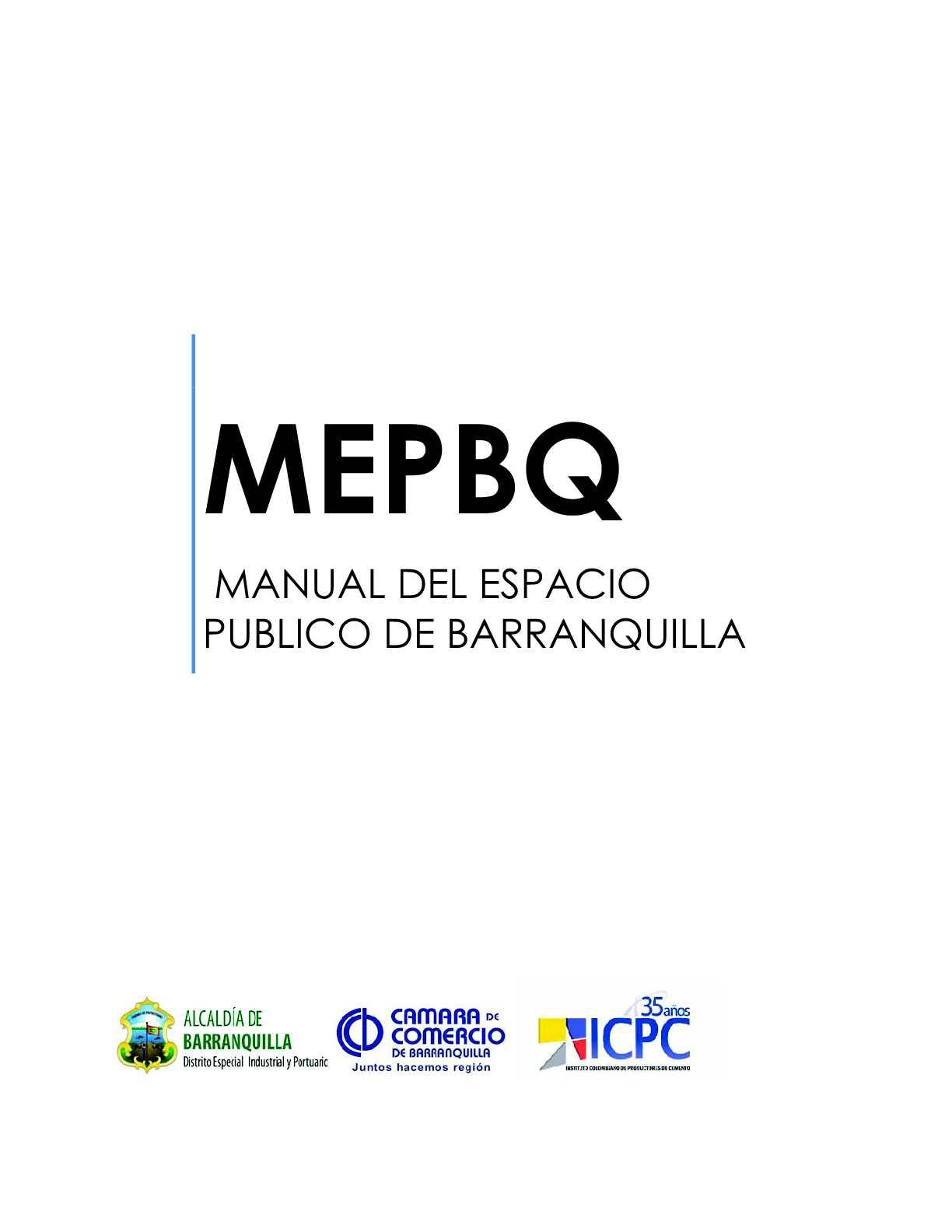 MANUAL DEL ESPACIO PÚBLICO DE BARRANQUILLA