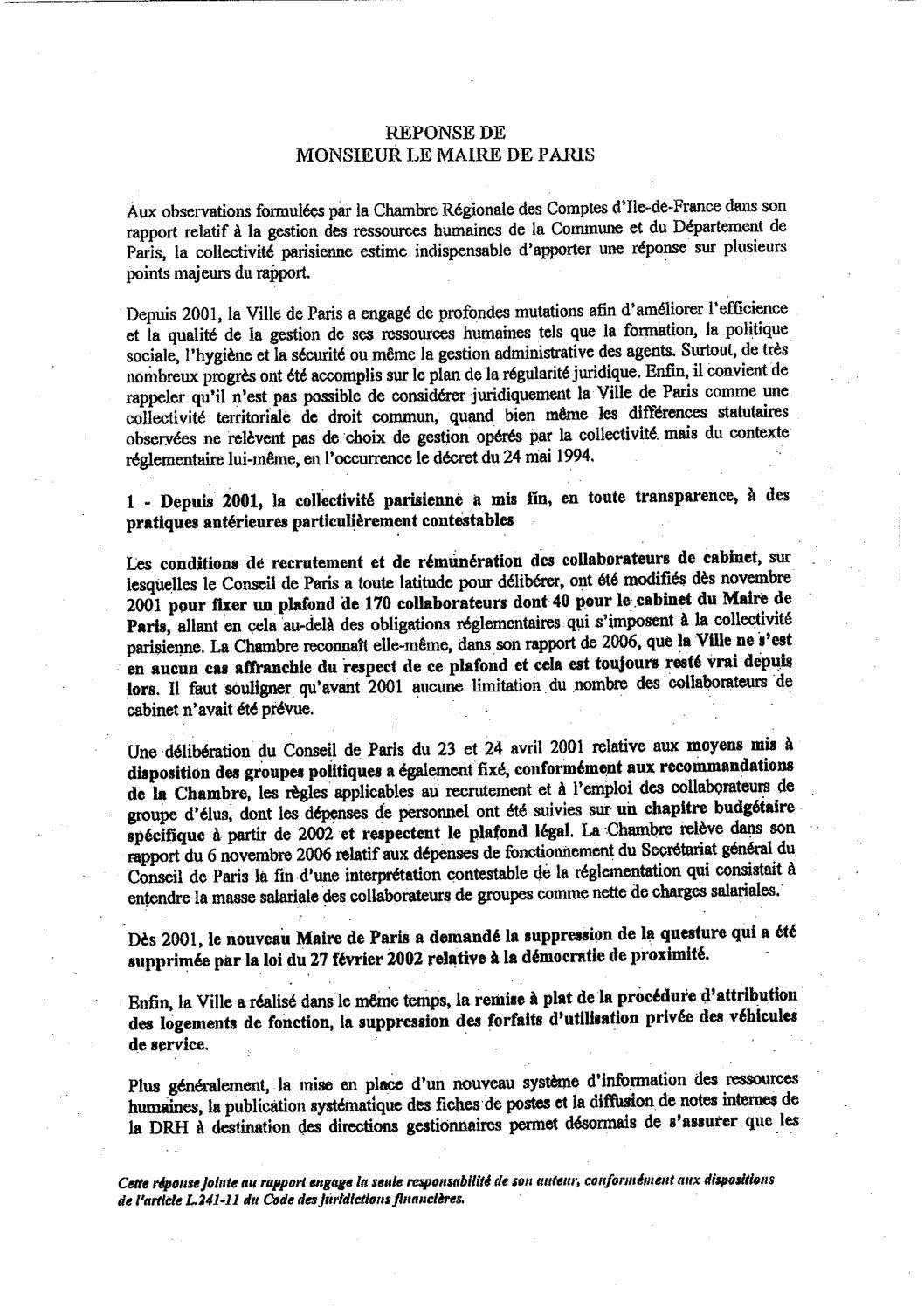 Calam o r ponse du maire de paris au rapport de la - Chambre regionale des comptes recrutement ...