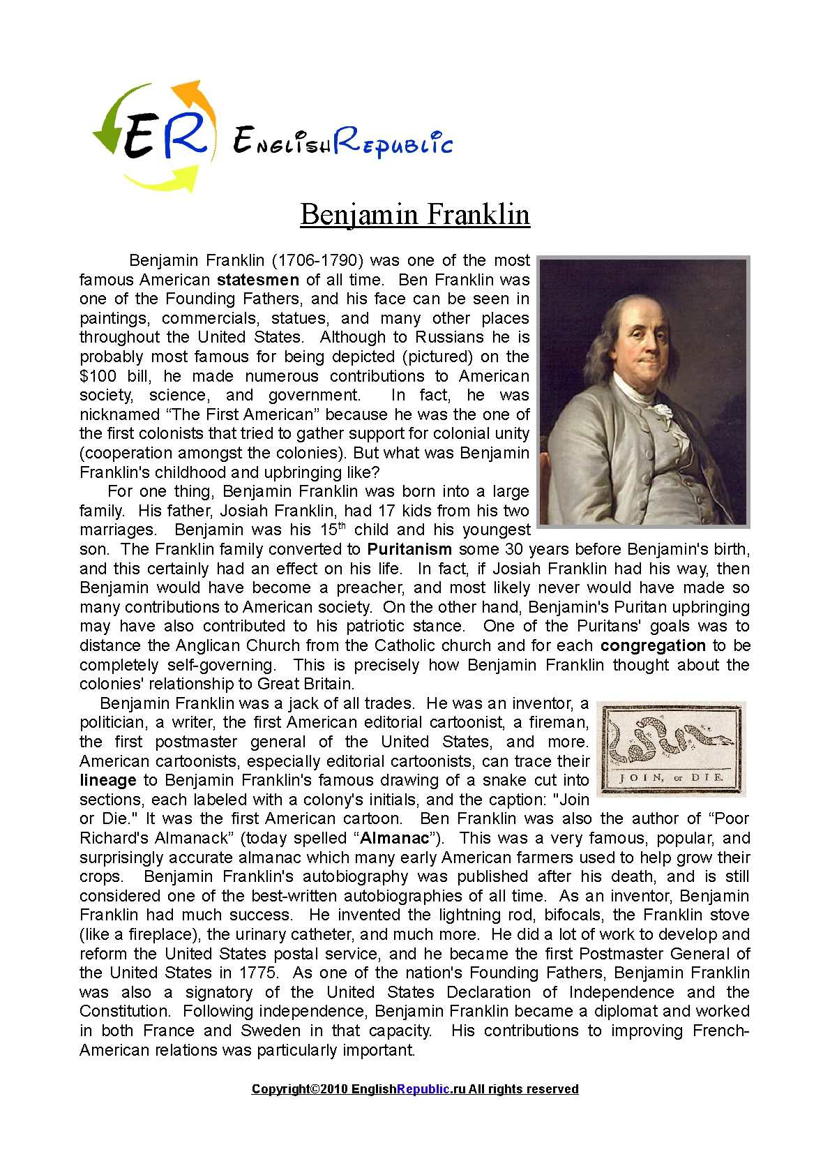 benjamin franklins contribution to american society