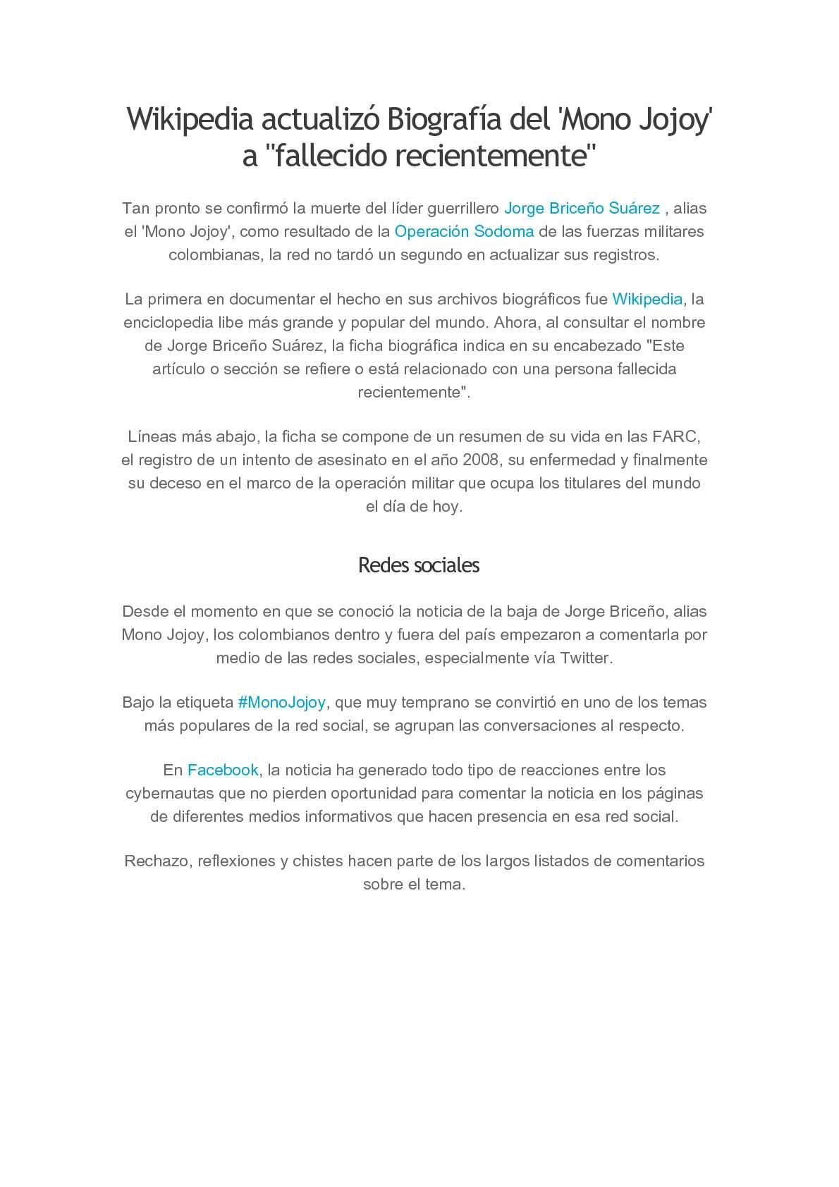 Calaméo - biografia del mono jojoy