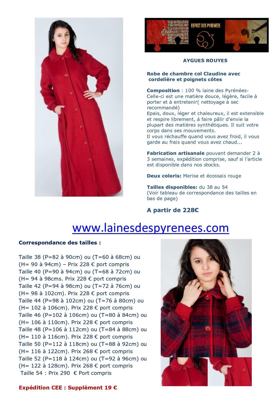 Calam o robe de chambre en laine des pyr n es pour femme - Robe de chambre en laine des pyrenees ...