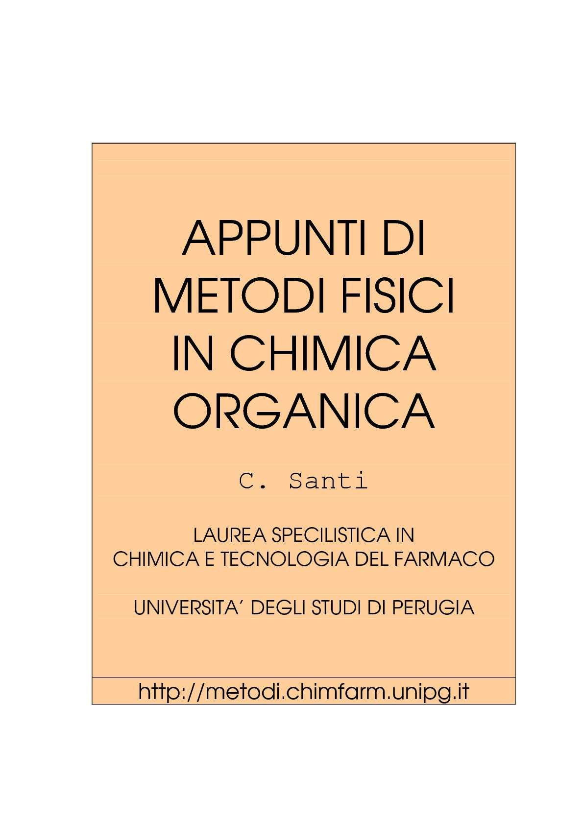 Metodi fisici chimica organica - Prof. Santi