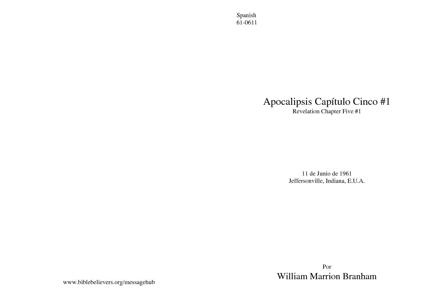 61-0611 APOCALIPSIS 5 #1