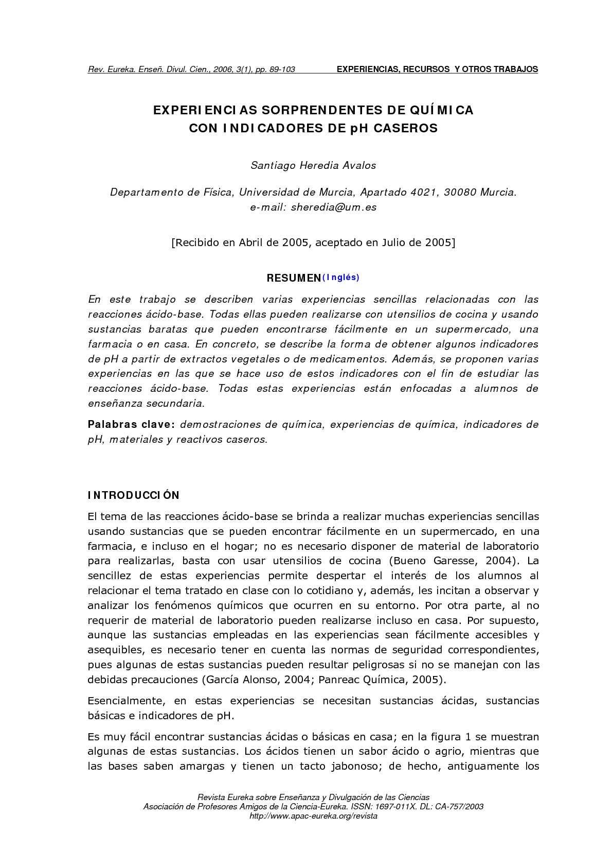calaméo experimentos identificación ácidos bases