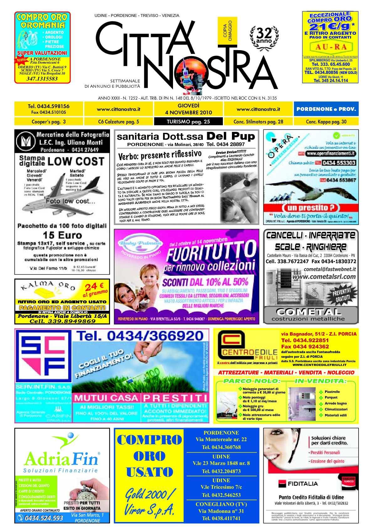 Calaméo - Città Nostra Pordenone del 04.11.2010 n. 1252 8c3524a149f