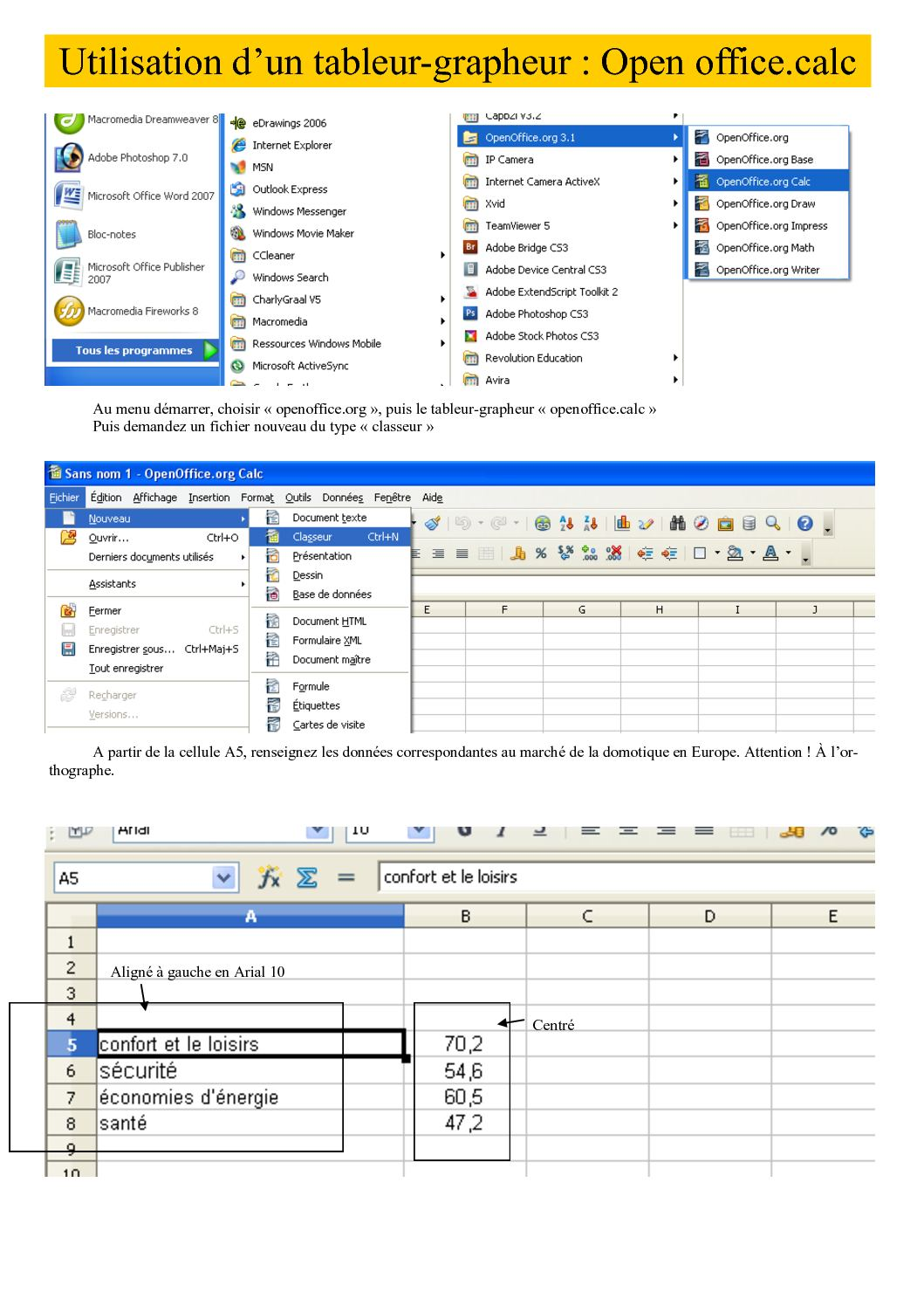 Calam o r alisez un graphique avec le tableur grapheur - Realiser un organigramme open office ...
