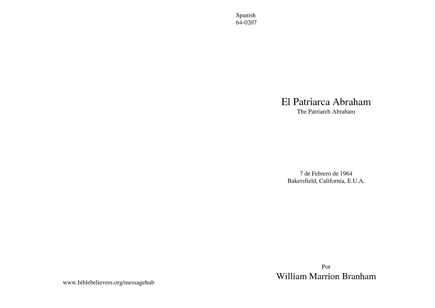64-0207 EL PATRIARCA ABRAHAM
