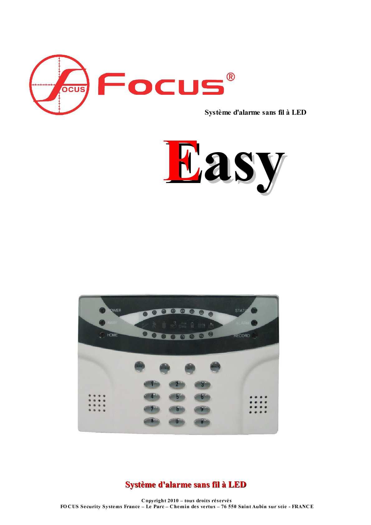 Calam O Notice Centrale Alarme Sans Fil Focus Easy