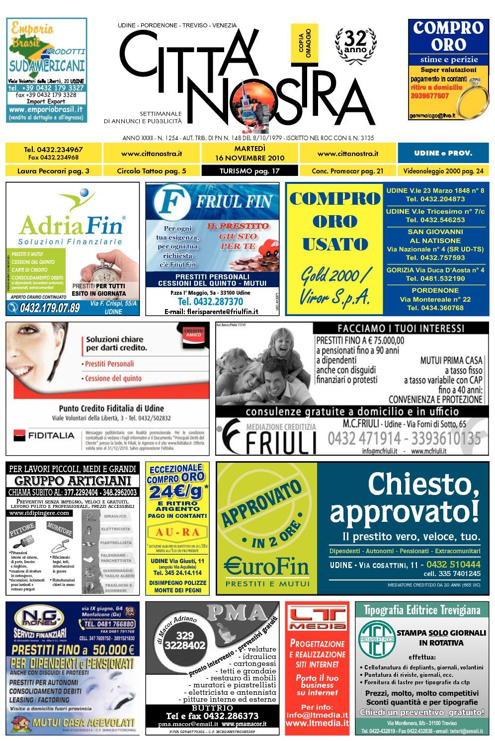 Calaméo Citt Nostra Udine Del 16 11 2010 N 1254