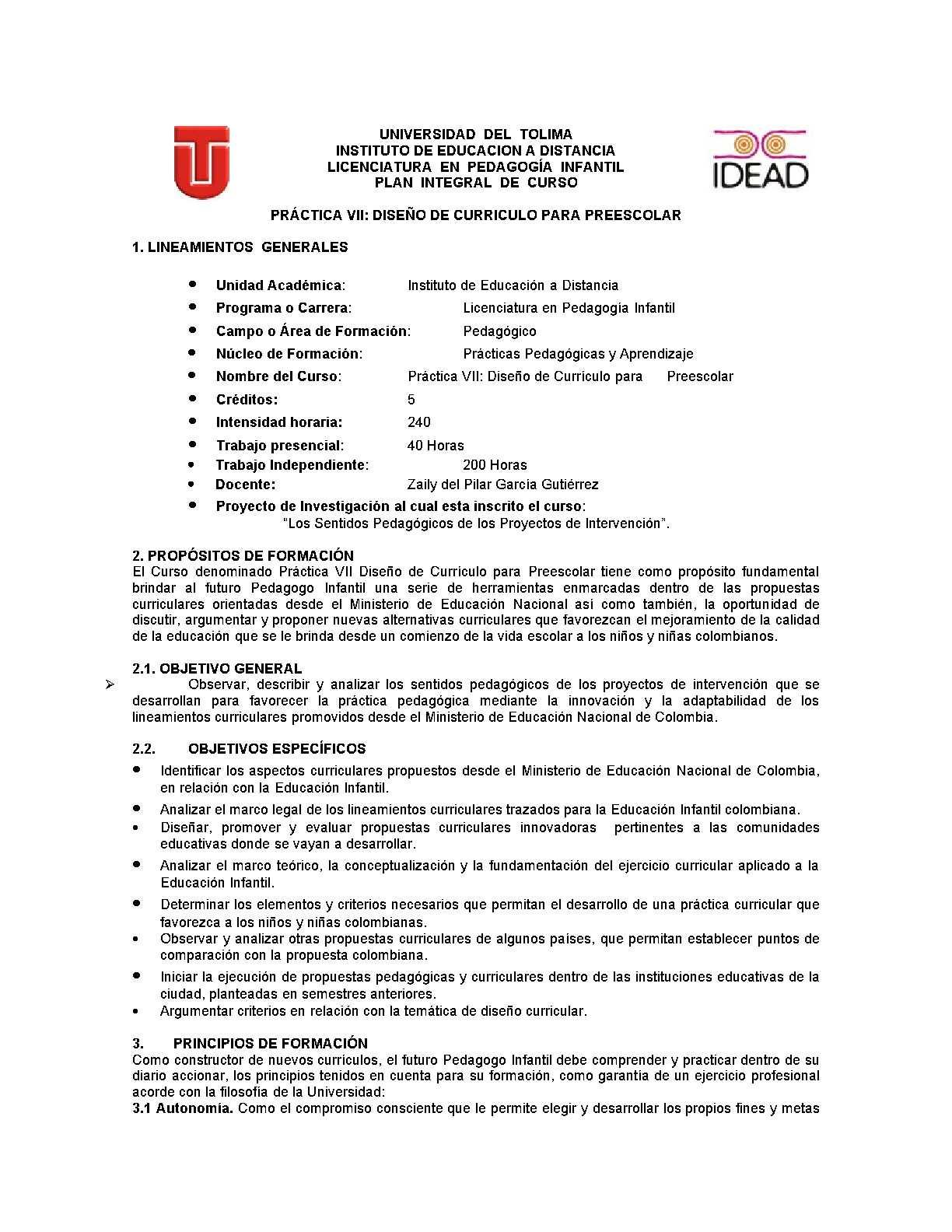Calaméo - PIC PRÁCTICA VII DISEÑO DE CURRÍCULO PARA PREESCOLAR