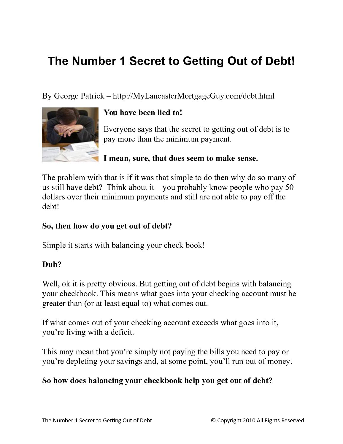 calaméo getting out of debt the number one secret to eliminating