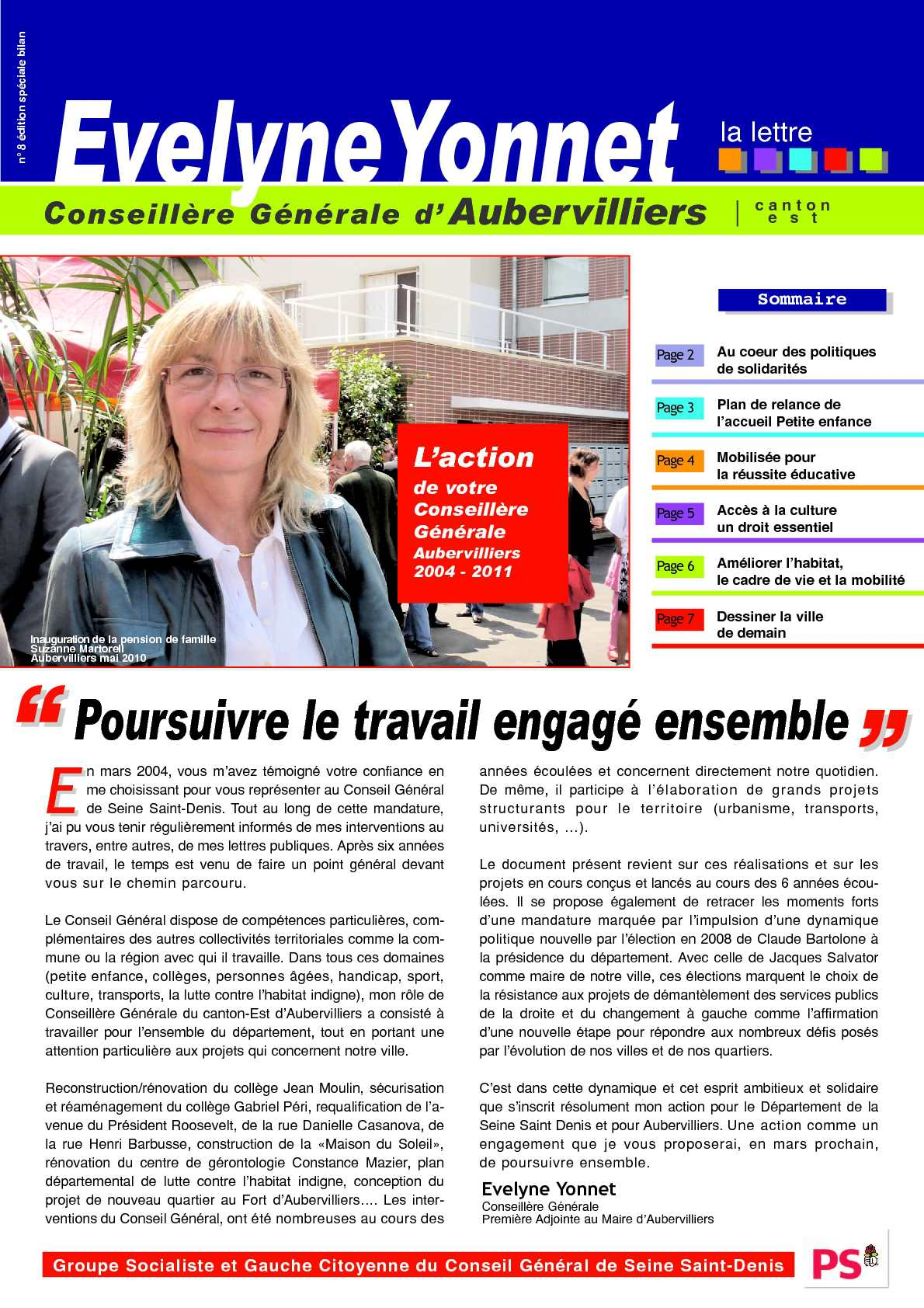 Calaméo pte rendu de mandat 2004 2011 Evelyne Yonnet