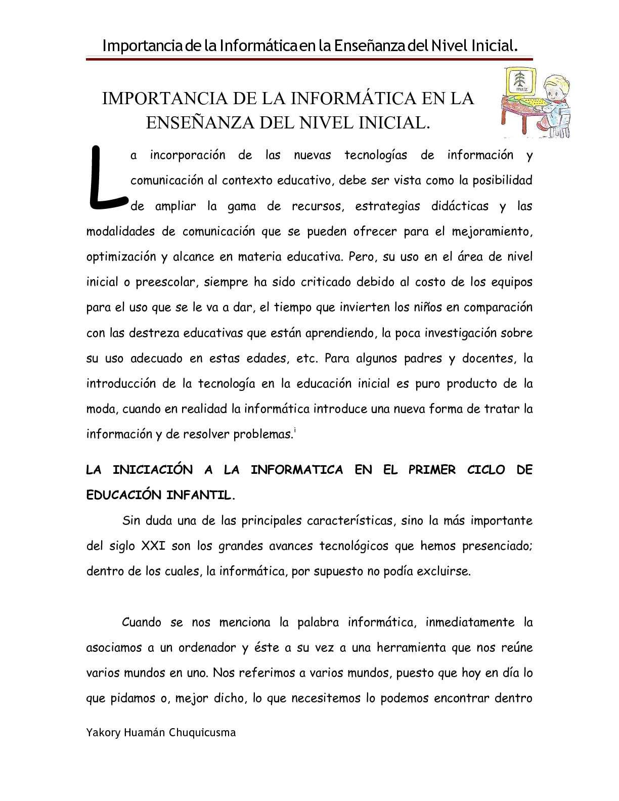 IMPORTANCIA DE LA INFORMÁTICA EN LA ENSEÑANZA DEL NIVEL INICIAL