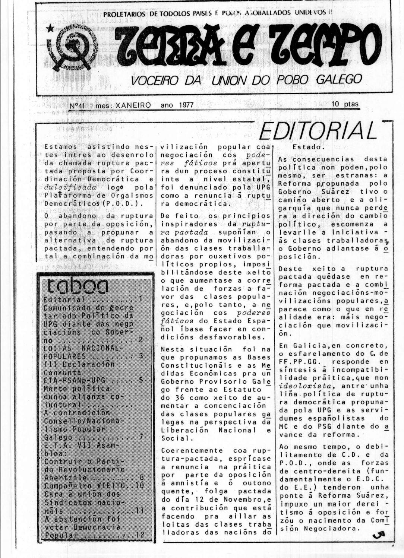 Terra e Tempo nº 41 (Xaneiro, 1977)