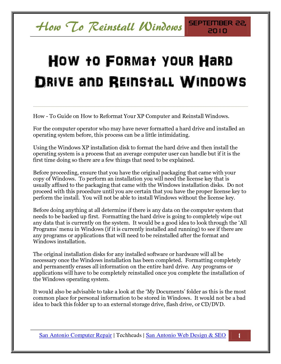 reinstall windows without cd key