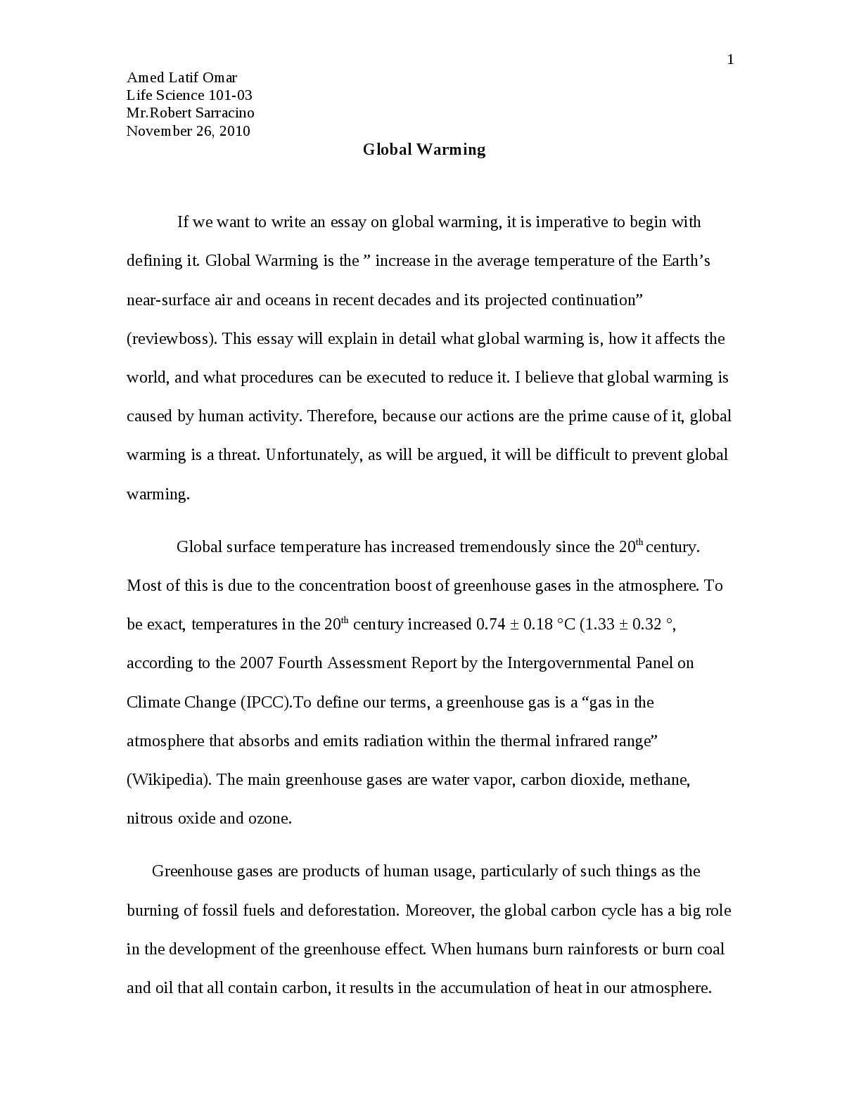 Best English Essay  Essays In Science also Model English Essays Calamo  Global Warming Argumentative Essay High School