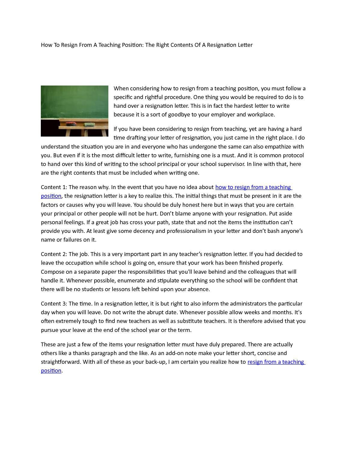 Calamo How To Resign From A Teaching Position