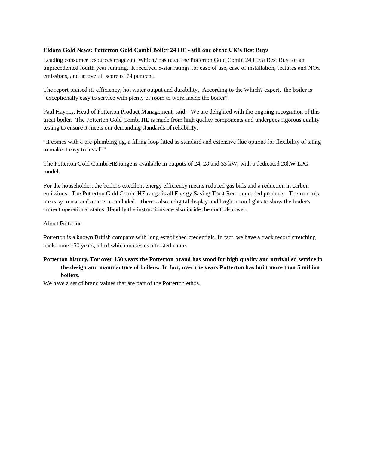 Calaméo - Eldora Gold News: Potterton Gold Combi Boiler 24 HE ...