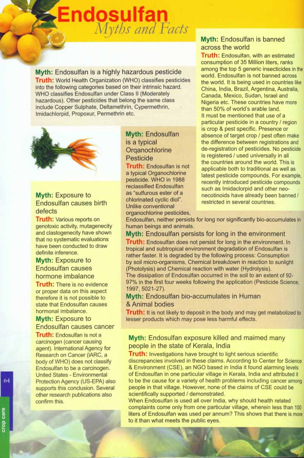 problems caused by endosalphan pesticide
