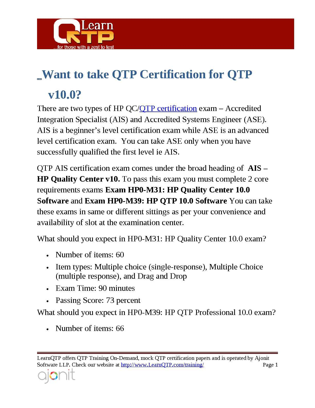 Calamo Step By Step Guide For Qtp Certification