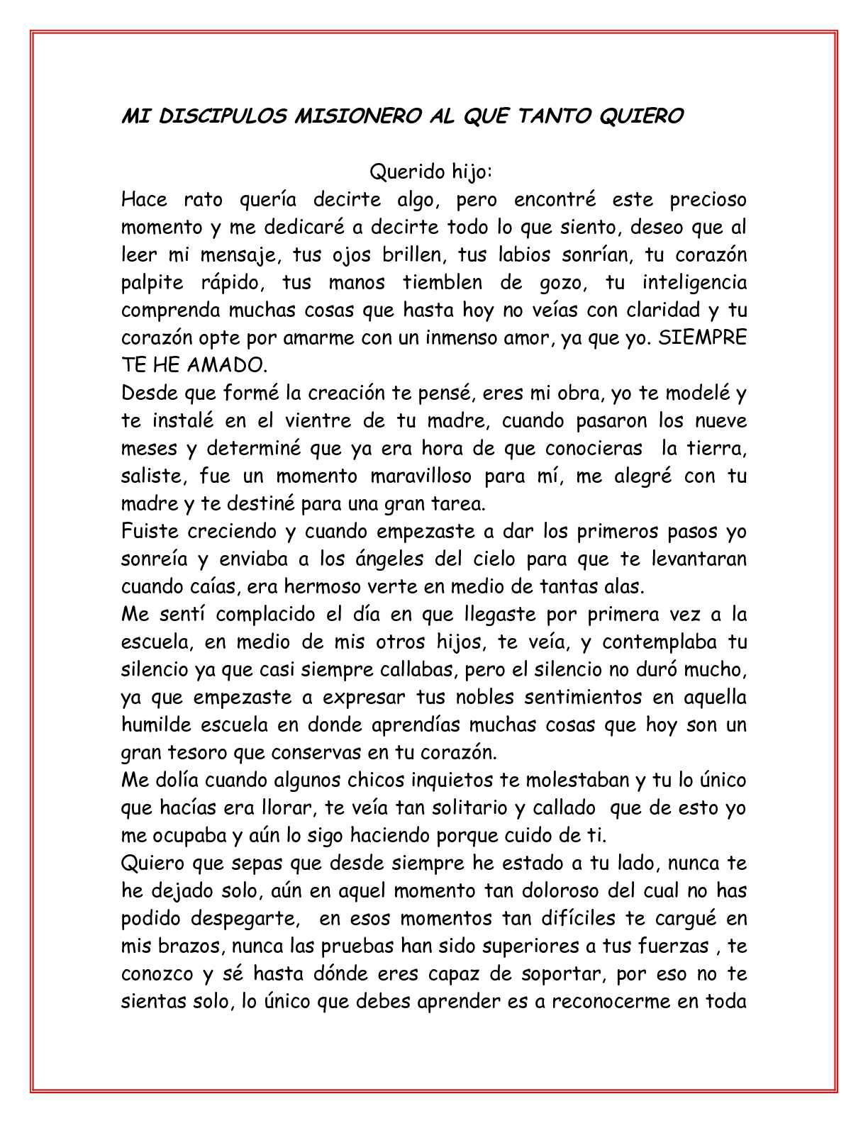 CARTA DE DIOS A UN DISCIPULO MISIONERO