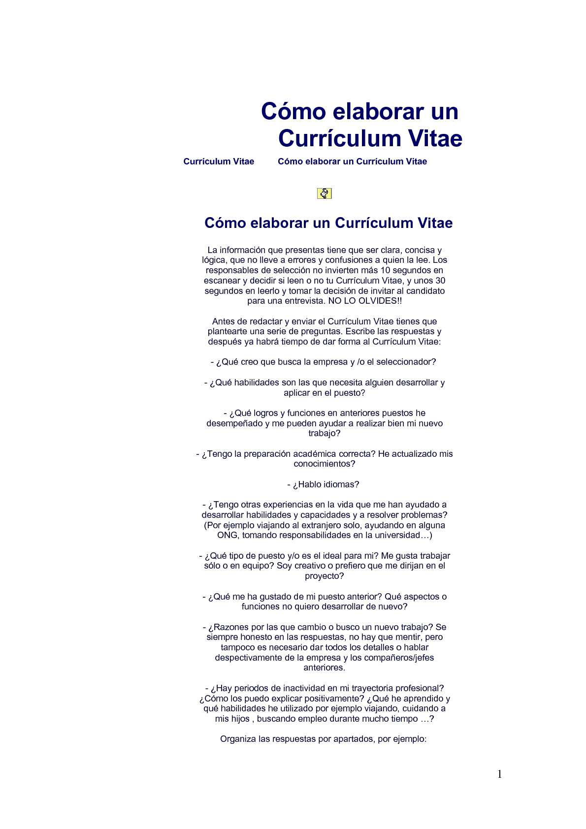 Calaméo - Cómo elaborar un Currículum Vitae