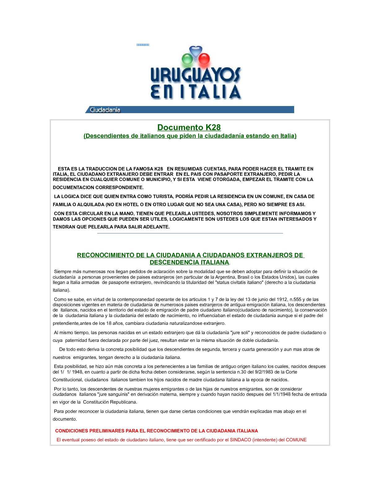 Calaméo - requisitos para la ciudadania italiana IN ITALIA