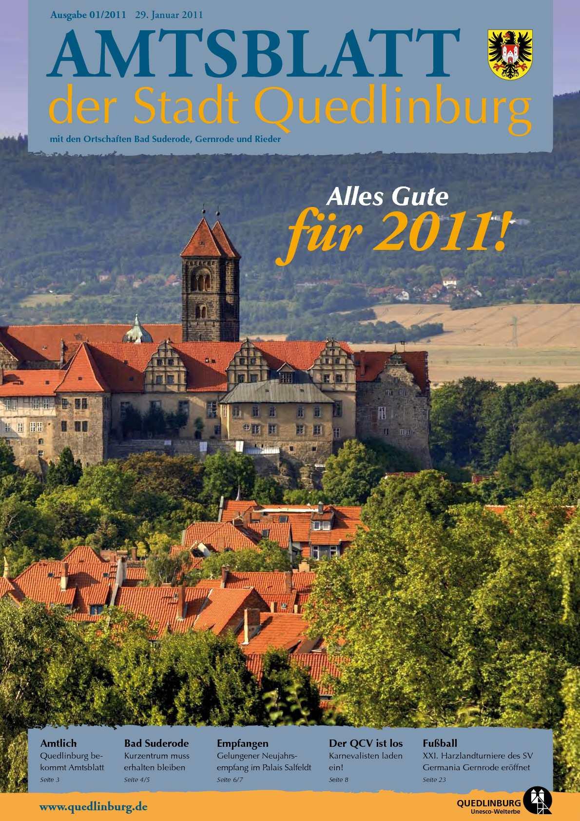 Calaméo - Amtsblatt 01/2011 der Stadt Quedlinburg mit den ...