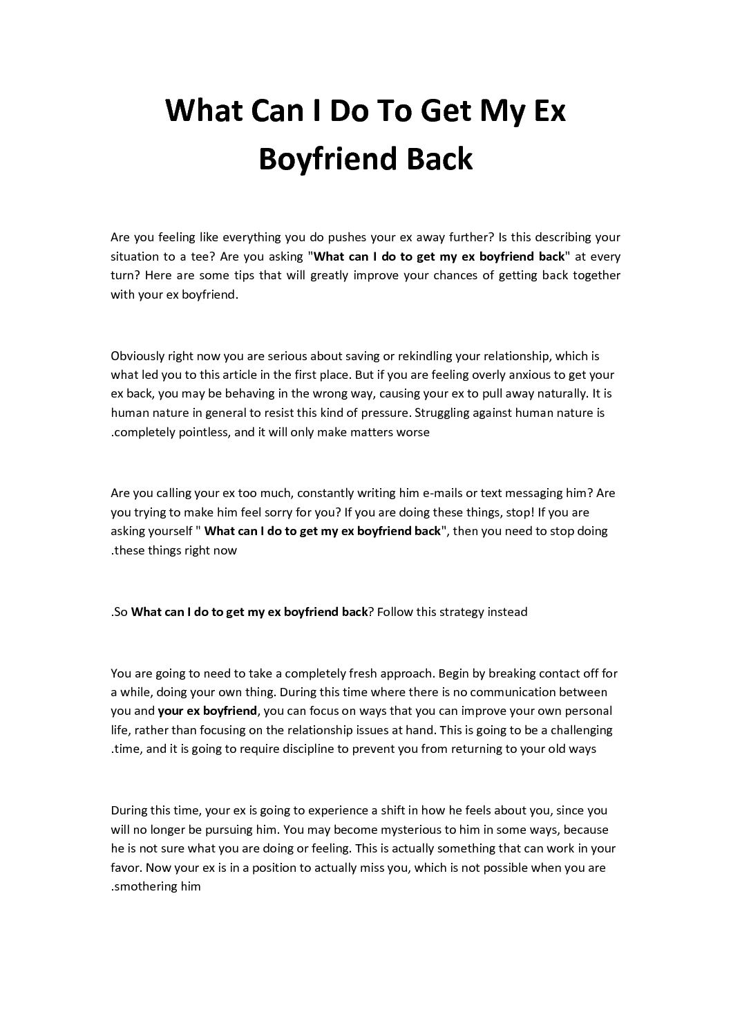 things to do to get your ex boyfriend back