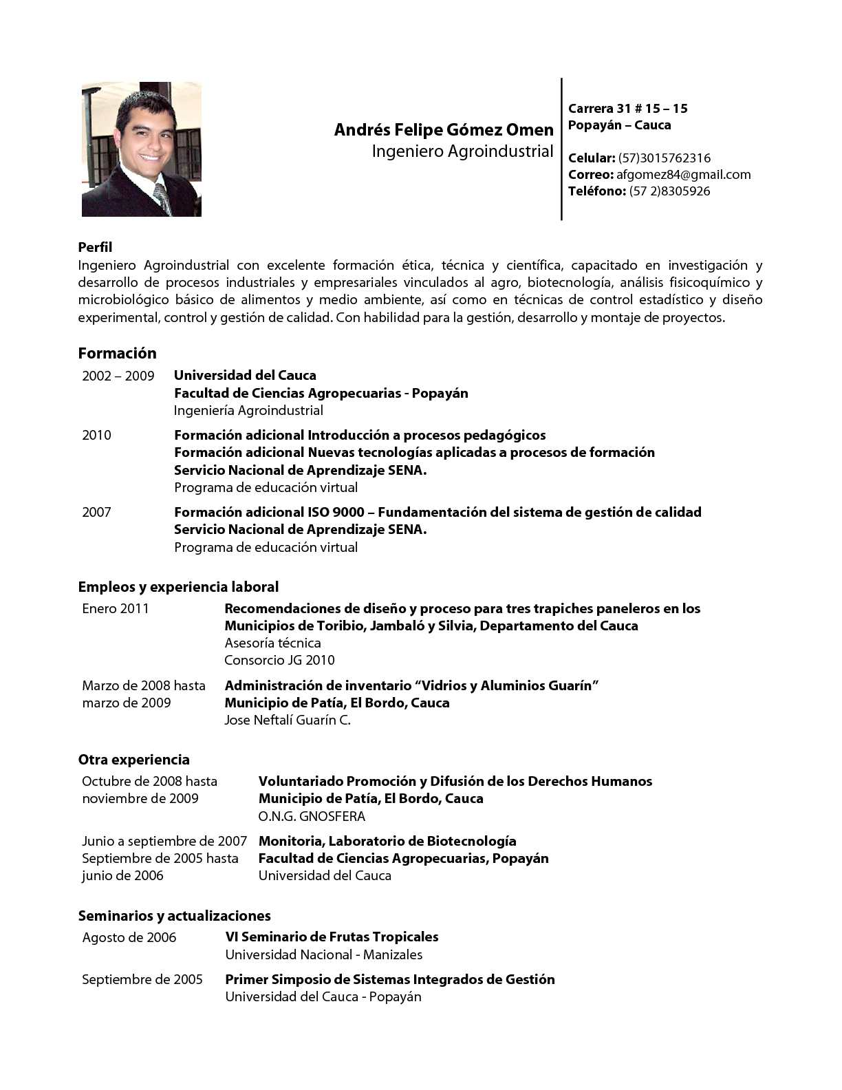 Calaméo - Resumen Personal y Profesional - Ingeniero Agroindustrial ...