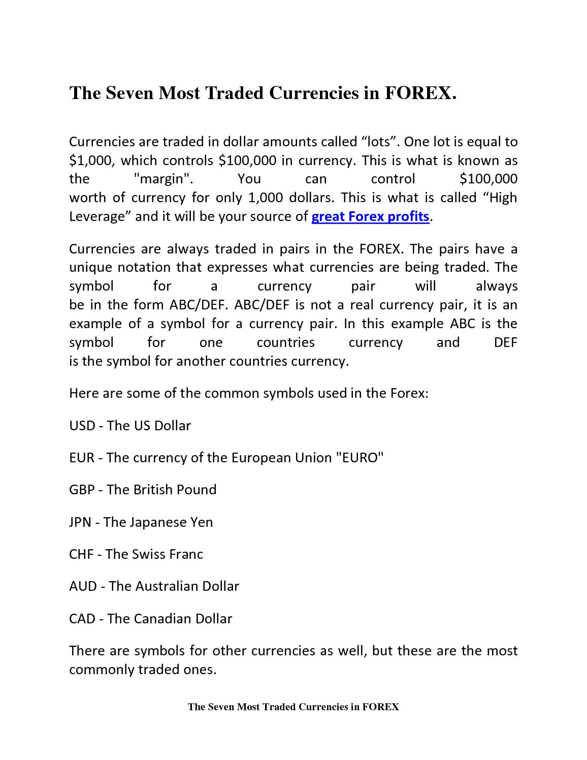 Calamo The Seven Most Traded Currencies In Forex