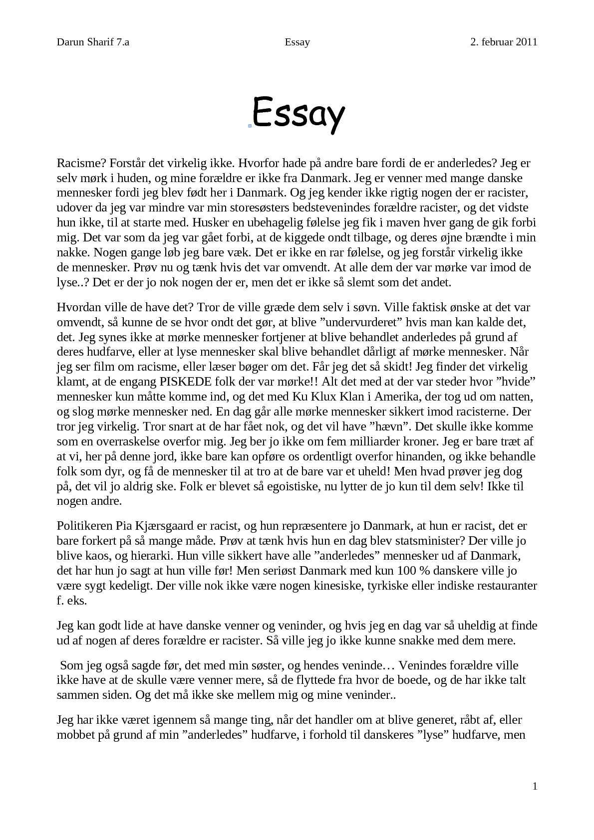 Engelsk essay om mig selv